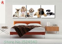 Wholesale Cute Sofa Set - 3pcs set Canvas Painting dogs picture Home sofa room wall art photo decor cute animals bulldog poodle unframed canvas printing