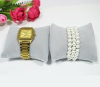 Wholesale Display Jewellery Bracelets Watches - Free Shipping Grey Gray Velvet Jewelry Display Cushion Pillow Jewellery Box Jewelry Stand Pillow Rack Holder for Watch Bracelet Bangle