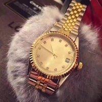Wholesale Small Bracelets - 2018 New Luxury men Fashion women Automatic date small diamond face Gold dial silver bracelet of the alloy steel belt movement quartz clock