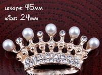 Wholesale Crown Embellishments Wholesale - 5%off (60pcs lot) 2 Colors Handmade Clear Metal Rhinestone Pearl Crown Bling Alloy Flatback Tiara Buttons For Wedding Embellishment