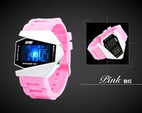 Wholesale Silicon Brand Wrist Watches - Hot cheap wrist watch Airplane shape Individuality Creative Silicon watches LED 5 colors Noctilucent Brand Upscale Waterproof Sports watches