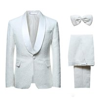 Wholesale Wool Shawls Sale - Hot sale design Custom made Handsome Wedding Suits Tuxedos Formal Suits Business Wears White Groomsman suits (Jacket+Pants)