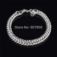 Wholesale Cheap Silver Figaro Chains - Cheap wholesale 10MM 925 Silver Figaro Link Bracelet Fashion Jewelry for men Top Quality