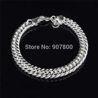 Wholesale Cheap Bracelets For Men Silver - Cheap wholesale 10MM 925 Silver Figaro Link Bracelet Fashion Jewelry for men Top Quality