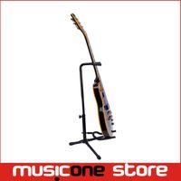 Wholesale New Black Acoustic Electric Guitar - New Portable Black Guitar Folding Fold Tripod Gear Tubular Acoustic Electric Guitar Stand Free shipping MU0298
