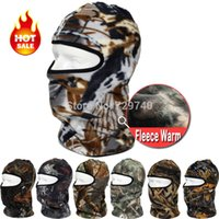 Wholesale Motorcycle Full Mask Winter - Wholesale-New Camo Motorcycle Thermal Fleece Balaclava Neck Warmer Masks Outdoor Sports Cycling Cap Windproof Winter Ski Full Face Mask