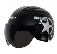 Wholesale Vintage Scooter - A#01 Free Shipping Vintage Andes-X333-A ABS Ultralight Moto Scooter Motorbike Retro Motorcycle Matt Black Star Helmet & UV Lens Adult Summer