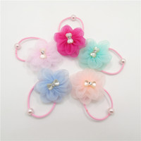 Wholesale Organza Flowers For Headband - 30pcs  Lot Light Color Pastel Organza Flower Elastic Hairbands With Pearl Beads Mini Floral Headwear For Kid Girl Ponytail And Claw Braid