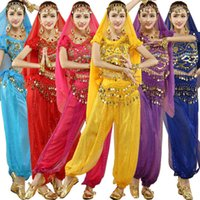 Wholesale Belly Dance Halloween Costumes - 4pcs Set Adult India Halloween Egypt Egyptian Belly Dance Costumes Bollywood Costumes Indian Dress Bellydance Dress Womens Belly Dancing Wea
