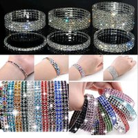 Wholesale Cubic Zirconia Tennis Bracelet Wholesale - Full rhinestone stretch charm bracelets the colorful mix of fashion women jewelry single row and double row style of the best holiday a905