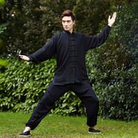 Wholesale Taiji Uniform Free Shipping - Free shipping new sale Chinese Kung Fu Suit for Men Tai Chi Clothing 100% Cotton Art Uniform taiji wushu kung fu taiji clothing 2527
