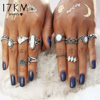 17KM Vintage Natural Opal Stone Midi Ring Set для женщин Мода Anillos Heart Crown Knuckle Rings Boho Jewelry 12 PCS / Lot