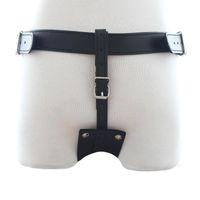 Wholesale Sex Toy Underwear For Men - Wholesale-Leather Deluxe Garment Butt Plug Harness Chastity Pants Restraints Bondage Underwear Sex Toys For Men Adult Games