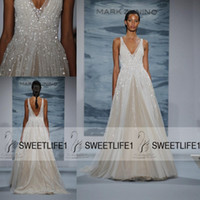 Wholesale Modern Mark - Cheap 2016 Customized New Mark Zunino Wedding Dresses Deep V Neck Sequins Backless Sexy Floor Length A Line Bridal Gowns Pageant Dresses