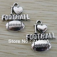 """Wholesale Vintage Filigree - Free Shipping Fashion Jewelry 100pcs Vintage Silver Filigree """"Love Football"""" Sports Charms  Pendants DIY Jewelry Findings HOT M2112"""