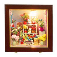 Wholesale Dollhouse Wood - Hot Sale Romantic Flower Shop DIY Wood Dollhouse Miniature Kids Chilren Girls Educational Toy Christmas Birthday Gift