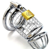 Wholesale Male Steel Chasity - Stainless Steel Lockable Chastity Devices with Ring Chasity Belt Cock Ring Cock Cage Penis Ring Cage JJD1452