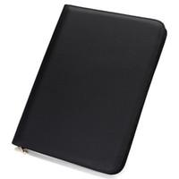 черная кожаная папка оптовых-Черный кожаный тип папки карандаш 48 пакет BagFountain ручка заказ$18no трек