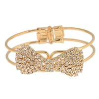 ingrosso ultimo nuovo braccialetto-Nuovo ultimo commercio all'ingrosso d'alta moda dei monili di modo che lucida i braccialetti pieni dell'arco del Rhinestone braccialetti all'ingrosso 12 pc per il regalo delle donne