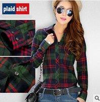 Wholesale Blusas Fashion - 2015 New Fashion Street Women Casual Plaid Blusas Long Sleeve Multiple Styles Women Tops Cotton Women Button Down Casual Lapel Shirt St