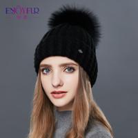 Wholesale- ENJOYFUR Natural Raccoon Fur Pom Poms Hat Female Warm Wool Women s  Cap Twist-type Knitted Girl Winter Hats 2017 skullies Beanies b1895d0fa0a4