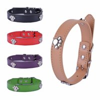 Wholesale Dog Collars Paws - 20pcs lot Fashion Pu Leather Dog Collar Paw Studded Collars For Dogs 3 Sizes Pet Products For Animals ( mixed colors )