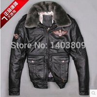 Wholesale Genuine Fur Jackets Coats - Fall-Avirex men's genuine leather jacket with fur collar black brown plus-size winter coat gun bomber jacket leather pilot suits 880