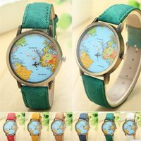 Wholesale Vintage Map Watch - Vintage World Map Plane Watches Men Women Unisex Denim Strap Quartz Wristwatch Travel By Plane Print Watches