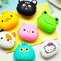 Wholesale Small Silicone Purses - Animals Girls Silicone Small Mini Coin Purse Change Wallet Purse Women Key Wallet Coin Bag Children Kids Gifts