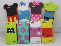 Wholesale Galaxy S3 Duck Case - 3D Cute Cartoon Back Shadow Mickey Minnie Winnie Donald Duck Rubber Silicone Gel Case For iPhone 4 5 6 Plus iPhone6 Samsung Galaxy S3 S4 S5