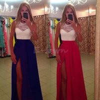 Wholesale Sexy Dress 18 - Hot New Sexy Lace Party Dress Clubwear Women Sleeveless Long Maxi Side Slit O-Neck Long Summer Dress 18 2016
