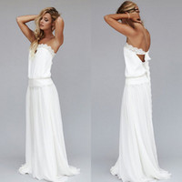 Wholesale Chiffon Strapless Vintage Dress - 2015 Vintage Dresses 1920s Beach Wedding Dress Cheap Dropped Waist Bohemian Strapless Backless Boho Bridal Gowns Lace Ribbon Custom Made