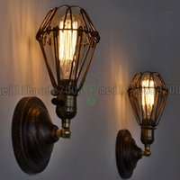 Wholesale Vintage Wire Chandelier - Fixture Chandelier Vintage Light Edison bulbs Rustic Wire Cage Hanging Wall Lamp LLWA035