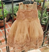 Wholesale Korean Baby Vest - Girls summer dresses korean baby fashion lace tulle princess dresses kids lace Crocheted vest dress children party dress A7481