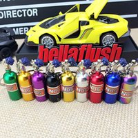 Wholesale Nos Bottles - New creative key chain Cartoon metal pendant keychain auto parts NOS nitrogen bottle keychain free shipping