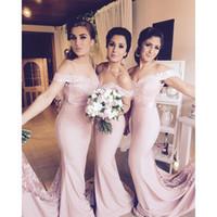 vestido de boda de tafetán rosa sirena al por mayor-Blush Pink Vestidos de dama de honor baratos 2016 Fuera del hombro Tafetán de encaje Primavera Vestidos de dama de honor Sirena Vestidos de fiesta de bodas formales BA1087