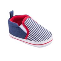ingrosso modello morbido dei pattini di bambino-All'ingrosso - Toddler Striped Pattern Baby Boys Girls Presepi Primi Camminatori Fondo morbido Baby Shoes 0-12 Mesi
