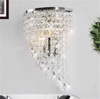 Wholesale Crystal Chandelier Wall Sconces - crystal Wall lamp K9 chandelier light E14 led bulb lamp living room bedroom bedside Fashion Wall Sconce Hallway Hotels corridor Lamp
