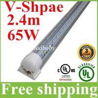 led tüp ışık 8ft 65w toptan satış-V Şeklinde Soğutucu Led Tüp T8 8ft Entegre Led Işık Tüpü 65W 6800lm Çift Sıralı SMD 2835 Soğuk Beyaz AC 85-265V + CE ROHS