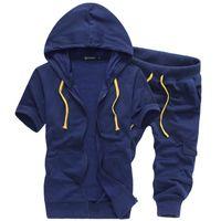 Wholesale Tracksuit Mens Colors - Wholesale-Fashion mens tracksuit short sleeve hoodies and shorts sportswear 4 colors M-3XL asian size BB542