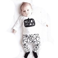 Wholesale Pu T Shirts - Baby INS cartoon Hello I'm Lola Suits 2016 new children Long sleeve T-shirt +pu trousers 2 pcs Suit cartoon pajamas Suits B001