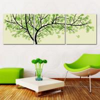 peinture photo verte achat en gros de-3 Pièces Livraison Gratuite Moderne Mur Peinture À L'huile Salon Décor Vert Argent Arbre Mur Art Photo Peinture Sur Toile Impressions