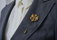 Wholesale Dragon Lapel Pin - Unisex Gold Dragon Shield Brooches Suit Shirt Corsage Lapel Stick Pin Chain Brooch Jewelry Gift For Women Men Wholesale 12 Pcs