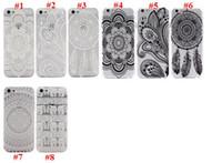 Wholesale Iphone 5c Plastic Matte - Clear Matte Hard Plastic PC Case back Cover for Iphone 6 6 Plus 5S 5C 4S Henna White Floral Paisley Flower Mandala case