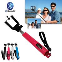 selbststichhalter großhandel-Freies DHL Erweiterbar Bluetooth Handheld Einbeinstativ Drahtlose Fernbedienung Selbstauslöser Shutter Selfie Griff Halterung Pole Stick Telefon Adapter
