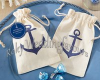 Wholesale Voyages Anchor rustic mini burlap drawstring wedding baby shower muslin candy favor gift bag linen candy bag