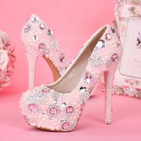 mädchen rosa brautkleid großhandel-Fancy Pink Pearl Strass Brautkleid Schuhe High Heel Pumps Hochzeitsschuhe für Mädchen