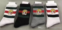 Wholesale Wholesale Box Socks - men designer socks tiger head embroidered 2 white + 1 balck + 1 grey with original box striped jacquard unisex cotton sport socks 4pairs box