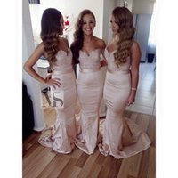 Wholesale new fashion dresses for wedding resale online - New Formal Blush Pink Lace Bridesmaid Dresses Sweetheart Backless Mermaid Long Fashion Prom Party Gowns For Wedding Cheap Custom Made