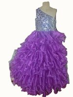 Купить Картины Красивые Платья-Sequins Ruffles Crystal BlingBling Tiers Ball Gown Real Pictures One Shoulder Beautiful Special Girl's Pageant Dresses